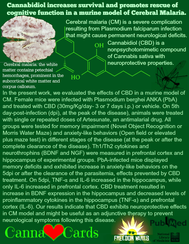 Cannabidiol increases survival and promotes rescue of cognitive function in a murine model of Cerebral Malaria. 101