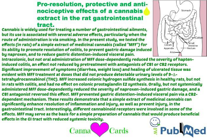 Pro-resolution, protective and anti-nociceptive effects of a cannabis extract in the rat gastrointestinal tract.